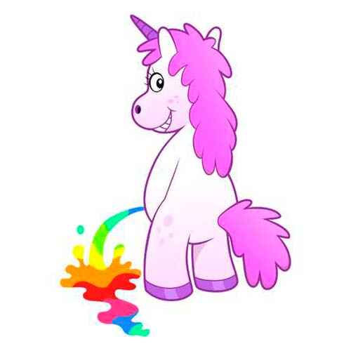 Unicornio meando arcoiris